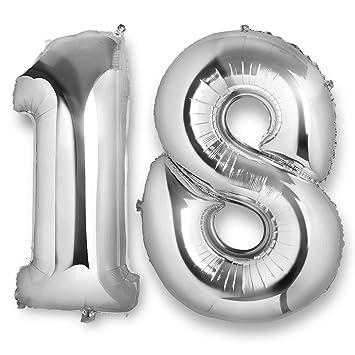 Vordas Globo 18 Cumpleaños, 40 Pulgada Globos Número 18 Decoración de Cumpleaños 18 Años Fiesta de Cumpleaños (Plata)