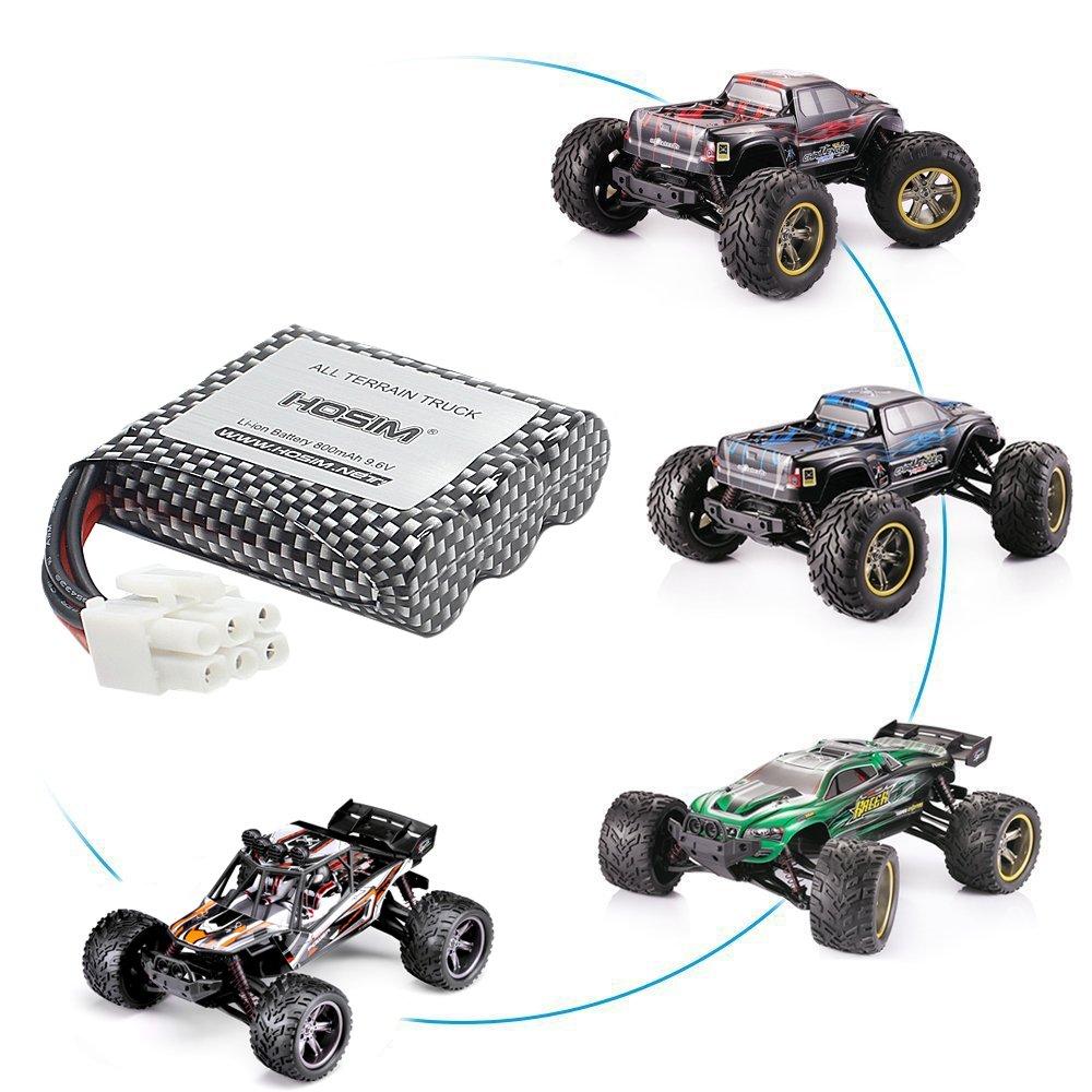 Hosim 2 pezzi 9.6 V 800 mAh RC auto ricaricabile agli ioni di litio e 1 pz caricabatterie USB pezzi di ricambio di ricambio valutazione 9112 9122 9123 1//12 scala All Terrain RC Truck terza
