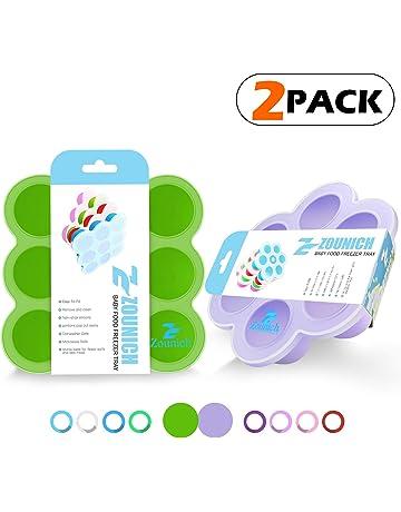 Contenedor para comida de bebés y bandeja de silicona con tapa - de almacenamiento reutilizable bebé