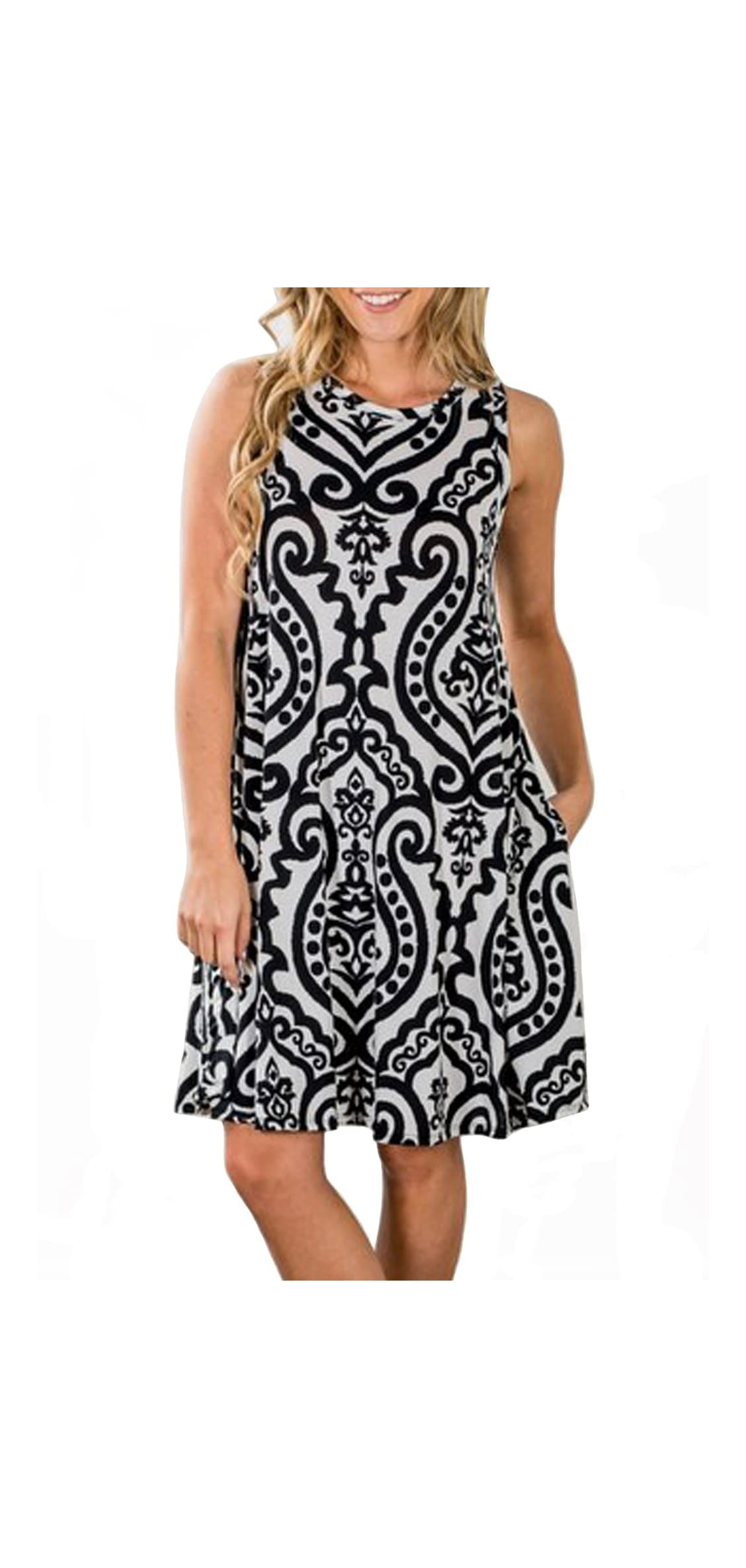 Women's Summer Sleeveless Damask Print Pocket Loose Dress