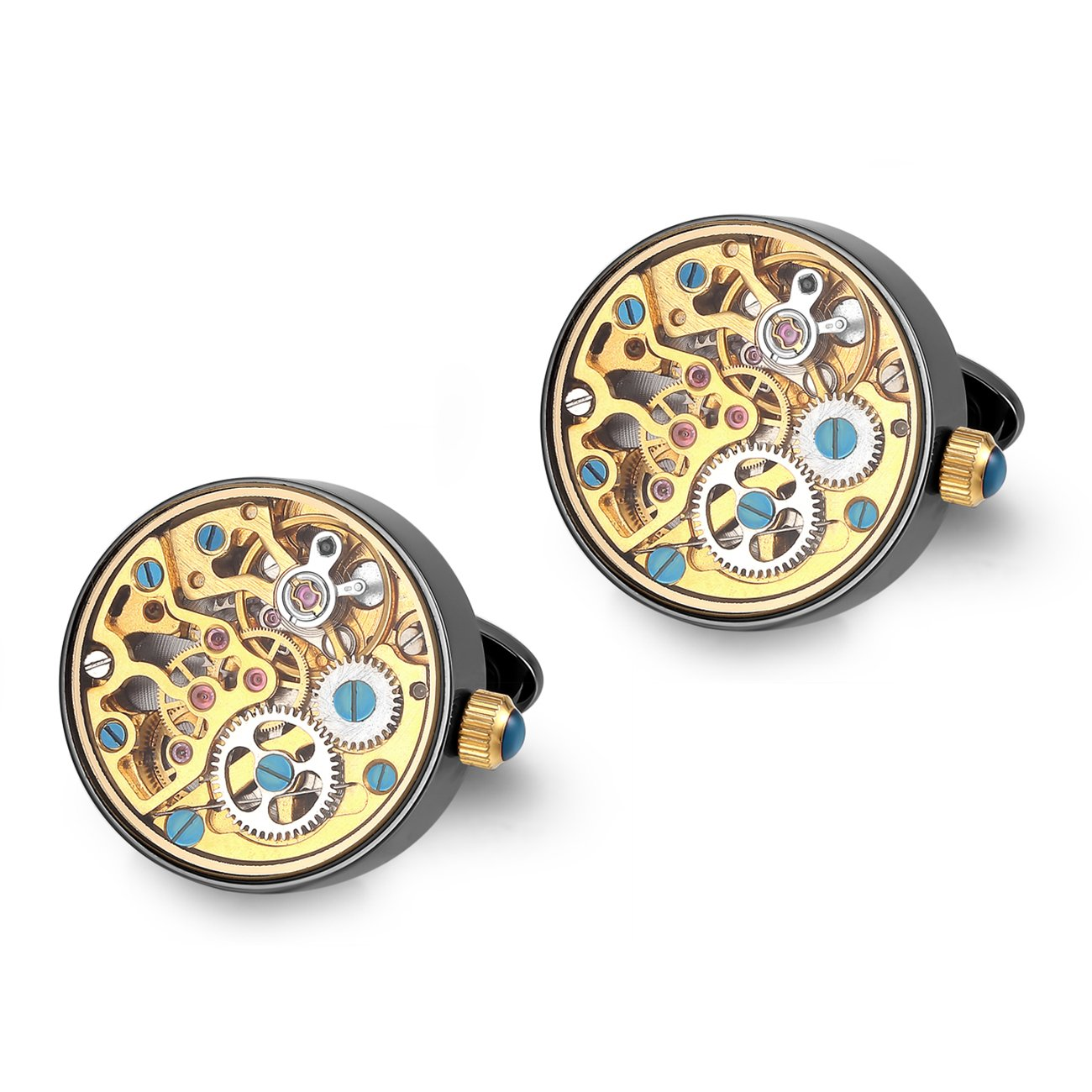 Dich Creat Men's Stainless Steel Black PVD Working Movement Cufflinks Covered with Glass by Dich Creat
