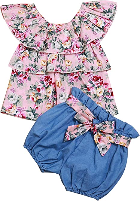Baby Girl Summer Clothes Ruffle Floral Sleeveless T-Shirt Tops and Shorts Outfit Sets