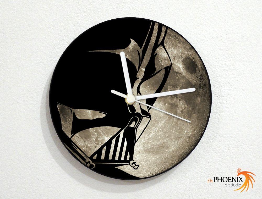 Darth Vader - Star Wars - Grey Full Moon - Universe Stars Space Galaxy Solar Planet - Custom Name Wall Clock