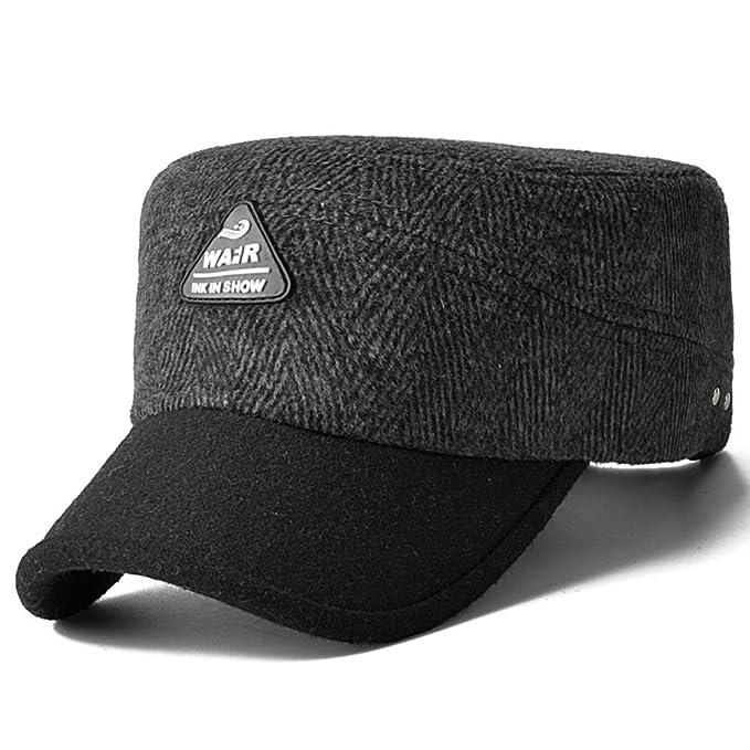 Gorros para hombres caliente/Sombrero de lana de invierno/Gorras planas/ Gorra militar/Invierno acolchado tapa: Amazon.es: Ropa y accesorios