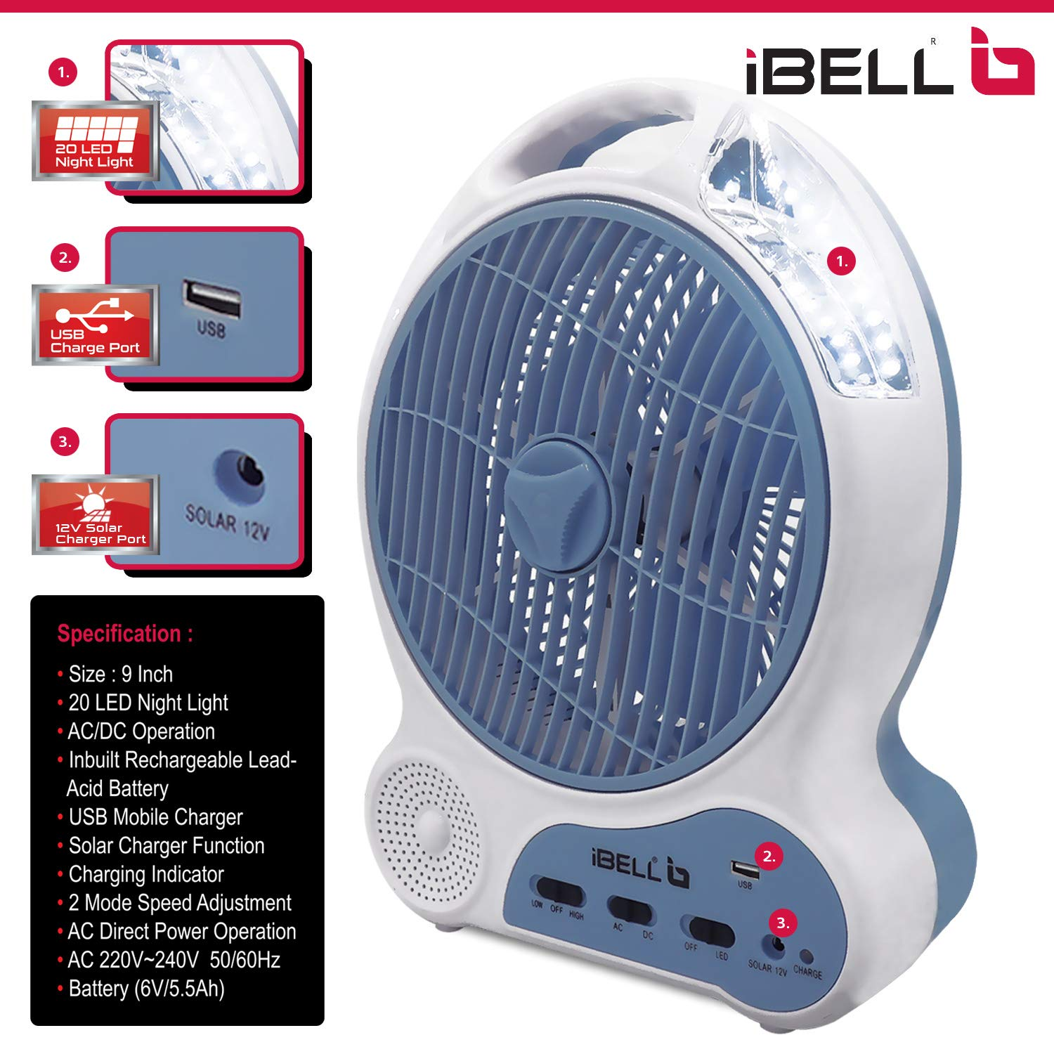 i ball best rechargeable fan in India