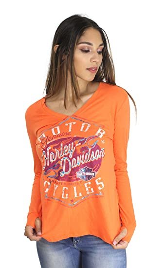 18e96549f9c2 Harley-Davidson Womens Braking Properly Flames with B&S Foil Print Orange  Long Sleeve (Small