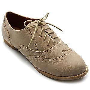 Ollio Women's Shoe Ballet Flat Faux Suede Wingtip Lace Up Oxford(5.5 B(M) US, Beige)