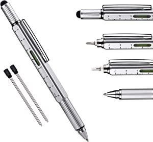 Useful Gadgets Business Gift for men, 6 in 1 Sliver tool pen with Ruler, Level gauge, Ballpoint Pen, Stylus and 2 Screw Drivers, Multifunction Tool Pen Fit for Engineers and Technicians in Gift Box