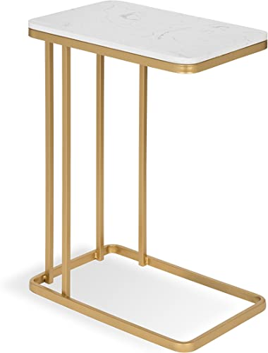 Kate and Laurel Credele Modern-Glam Sofa Side C-Table with Gold Metal Base and Man-Made Marble Top, 12×18.5×27