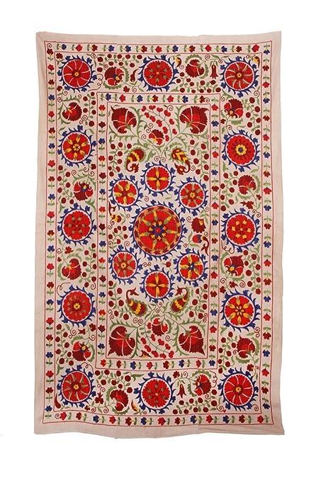Uzbekistán gran muy hermoso hecho a mano bordado antiguo doble Suzani colcha