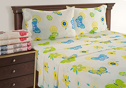 Linenwalas Butterfly Sheets Twin XL   Luxury Toddler Bed Sheet Set | Deep  Pocket Printed Butterfly
