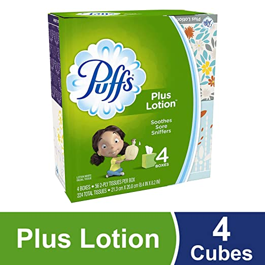 Puffs Plus Lotion Facial Tissues, 4 Cubes, 56 Per Box, 224 Count- Packaging May Vary, Prime Pantry