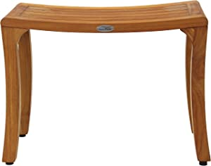 "AquaTeak Patented 24"" Asia Curve Teak Shower Bench"