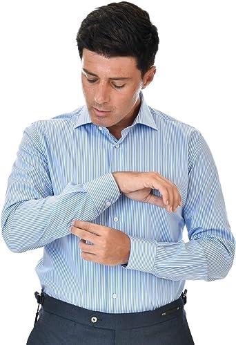 Marcus Camisa de hombre azul a rayas blancas de doble ...