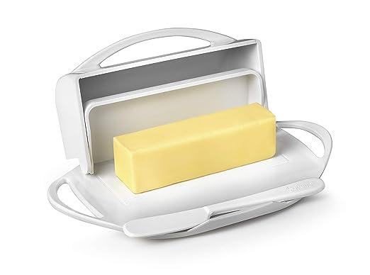 Mantequilla queso plato de almacenamiento blanco abatible con ...