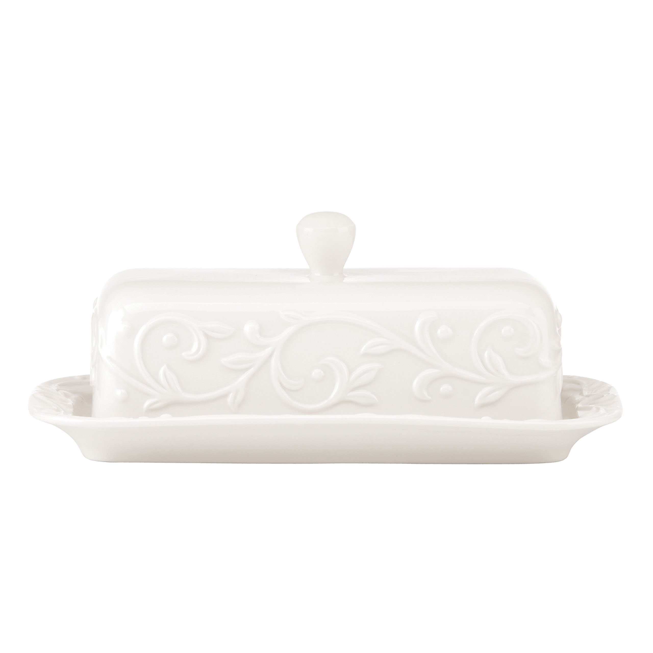 Lenox Opal Innocence Carved Butter Dish, White