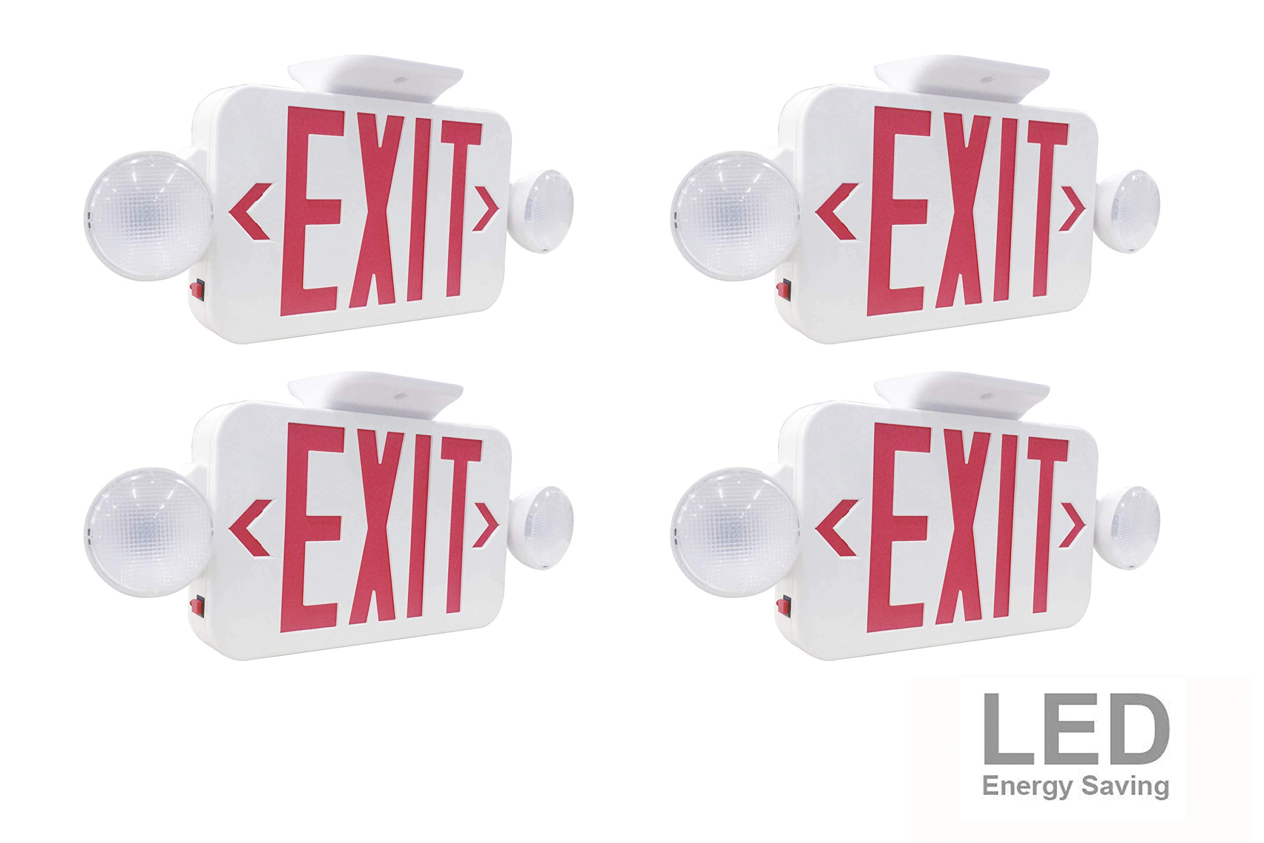 LIT-PaTH LED Combo Emergency EXIT Sign with 2 Adjustable Head Lights and Back Up Batteries- US Standard Red Letter Emergency Exit Lighting, UL 924 and CEC Qualified, 120-277 Voltage (4-Pack)