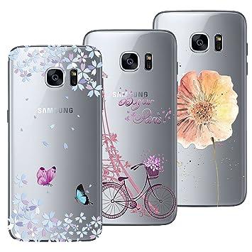 Yokata Funda para Samsung Galaxy S7, [3 Packs] Carcasa Transparente Ultra Suave Silicona TPU Case con Dibujo Anti-Arañazos Caso Cover - Torre y ...