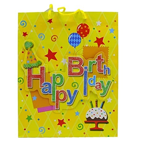Due Esse s.r.l. Dos Bolsas Regalo Happy Birthday 3D 27 x 13 ...