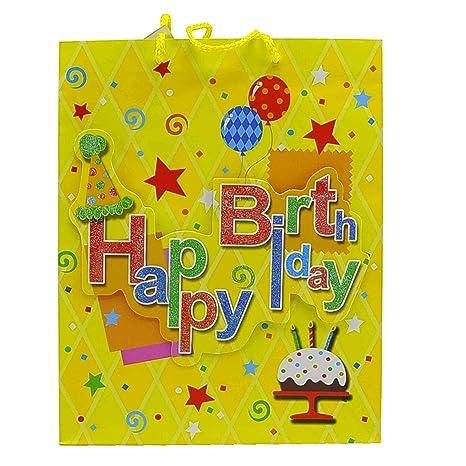 Due Esse s.r.l. Dos Bolsas Regalo Happy Birthday 3D 27 x 13 ...