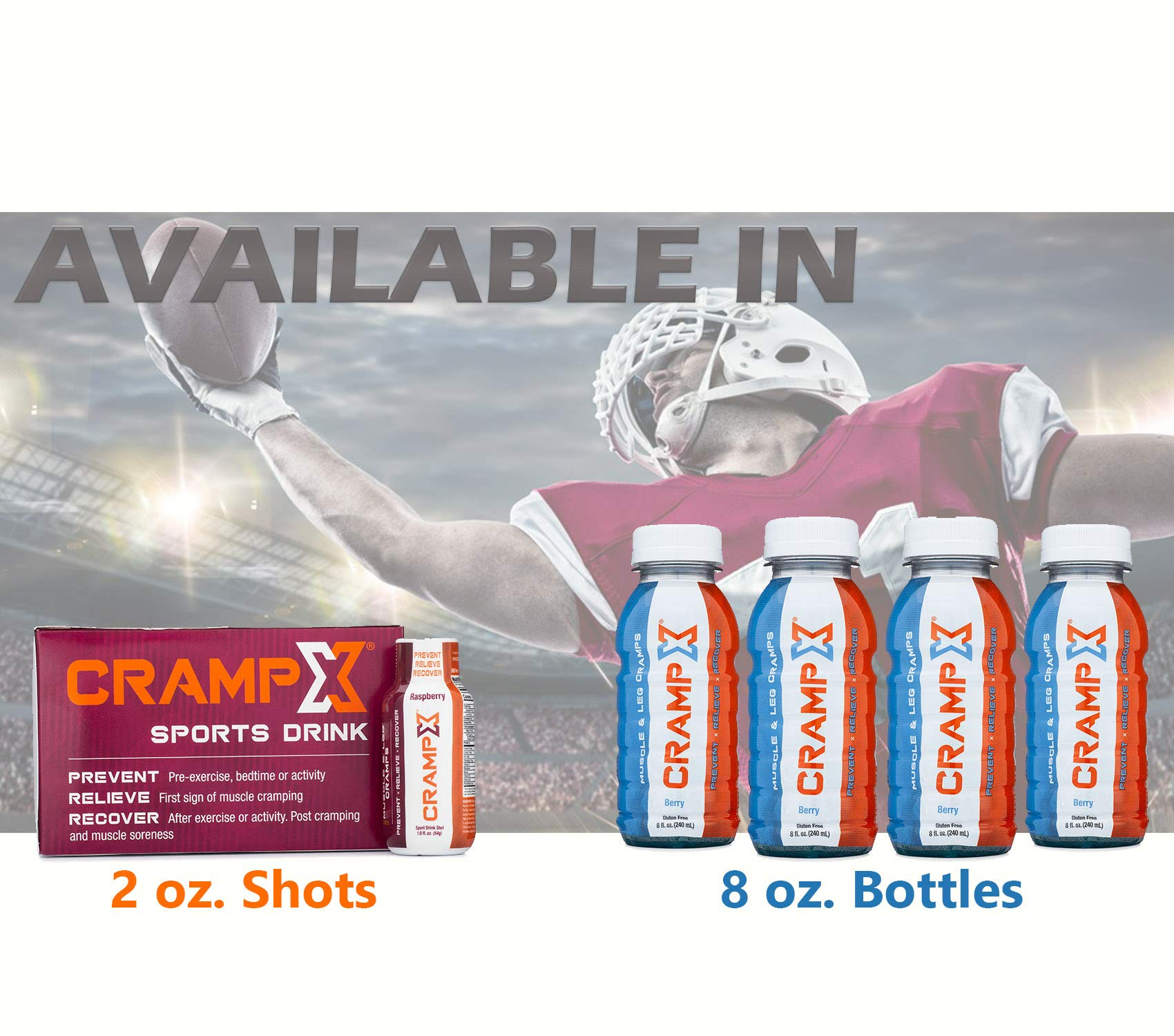 CrampX Muscle Cramp Relief Drink | Proven to Prevent and Treat Muscle Cramps in Seconds | Gluten Free Cramp Remedy for Hand Cramps, Leg Cramps, Foot Cramps | Raspberry 2 oz - Pack of 12 by CrampX (Image #7)