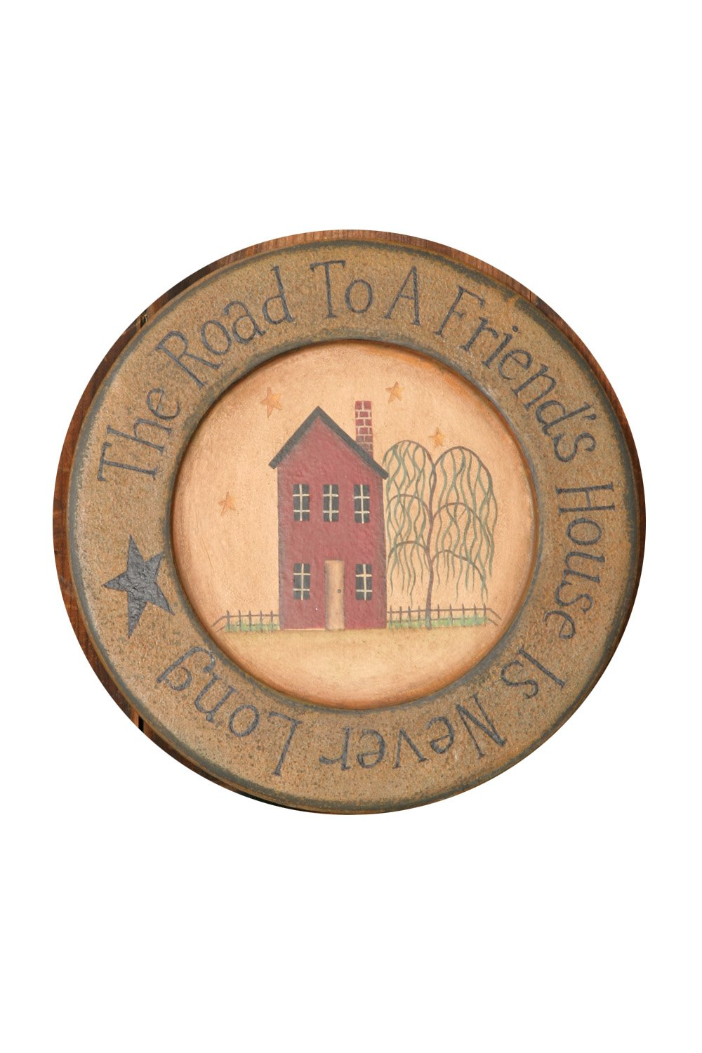 Your Heart's Delight Wood Home The Road to a Primitive Plate, 10-3/4-Inch