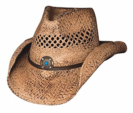 d78d4af706292c Bullhide Montecarlo Anytime Vented Raffia Western Hat with Turquoise Bead  Concho Small/Medium