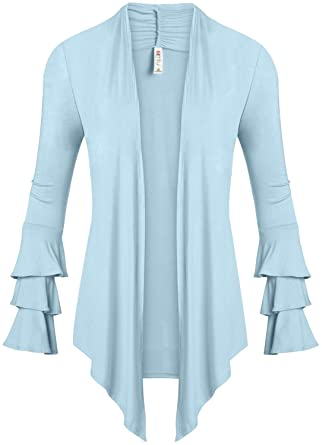 Simlu Womens Open Front Cardigan Sweater Ruffle Long Sleeve ...