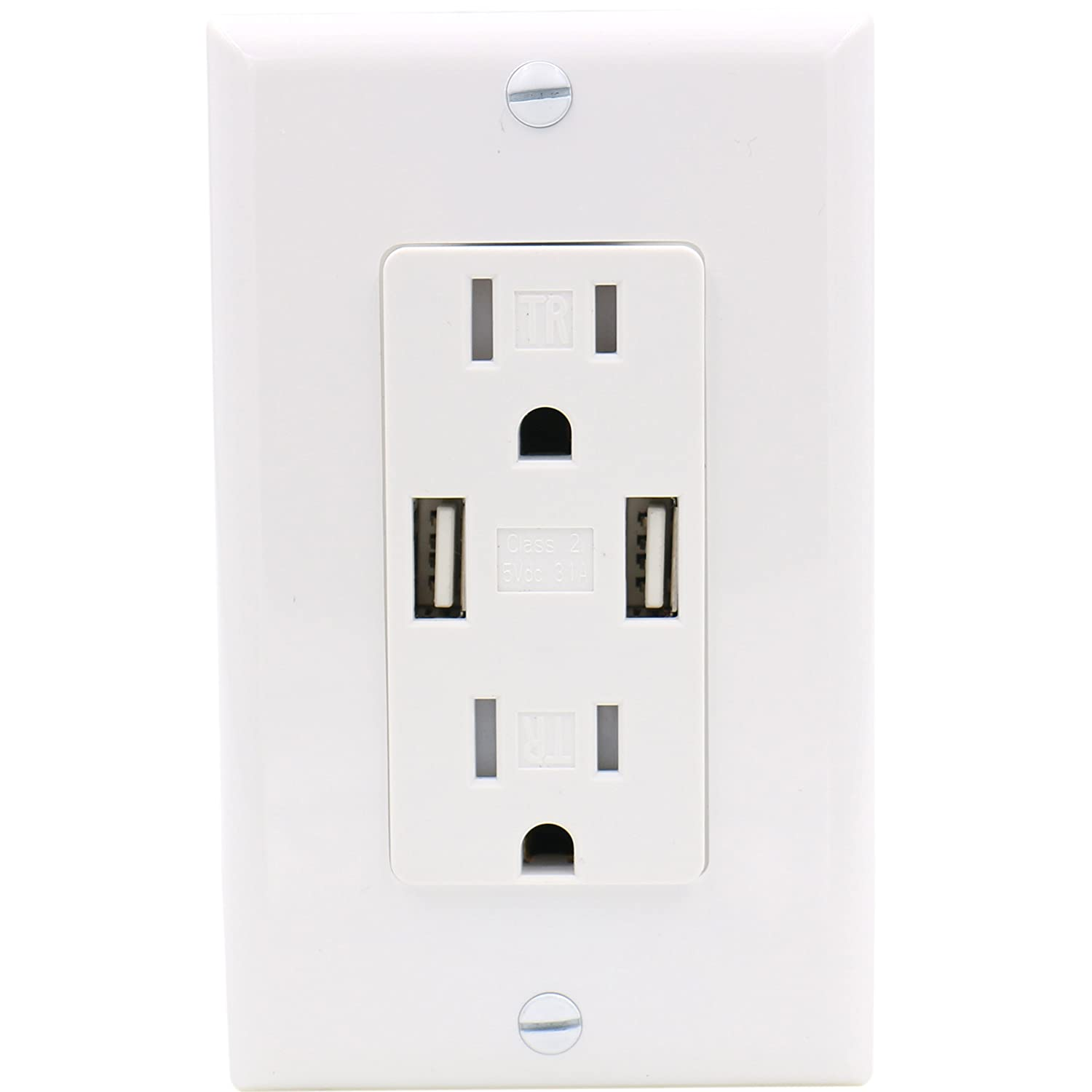 3.1A 5VDC Baomain USB Charger Outlet//Duplex Receptacle 15A 120VAC White Tamper Resistant Outlet with Wall Plate UL /& CUL Listed