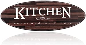 Rustic Wooden Kitchen Wall Decor Sign Oval Wood Farmhouse Kitchen Wall DecorVintage Wooden Home Hanging Signs for Kitchen Dining Living Room Bar Cafe Decoration (Classic Color)