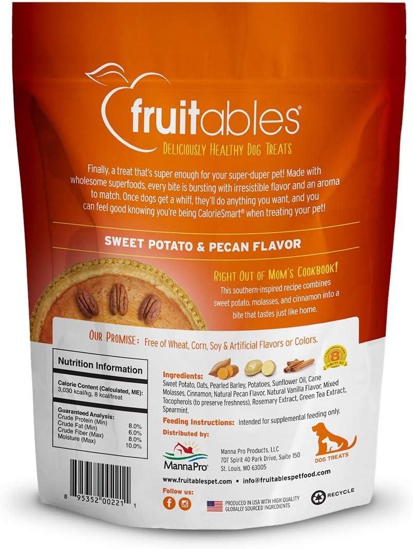 Fruitables 7 Ounce Crunchy Baked Dog Treats Sweet Potato and Pecan Flavor