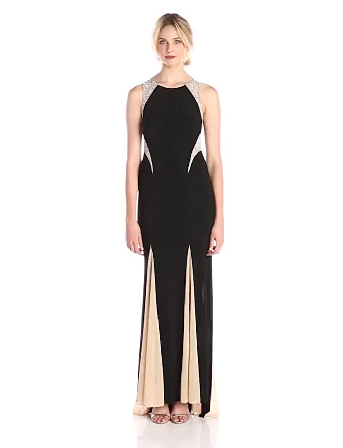 ffb9a34651f0 Amazon.com: Xscape Women's Sleeveless Gown with Illusion Insets: Clothing