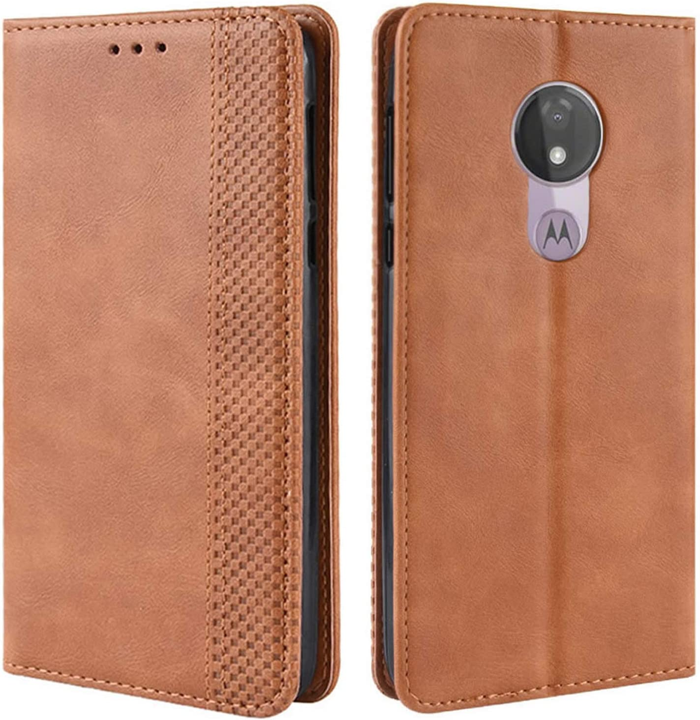 HualuBro Motorola Moto G7 Power Case, Moto G7 Supra Case, Moto G7 Optimo Maxx Case, Magnetic Full Body Shockproof Flip Leather Wallet Case Cover with Card Holder for Moto G7 Power Phone Case (Brown)