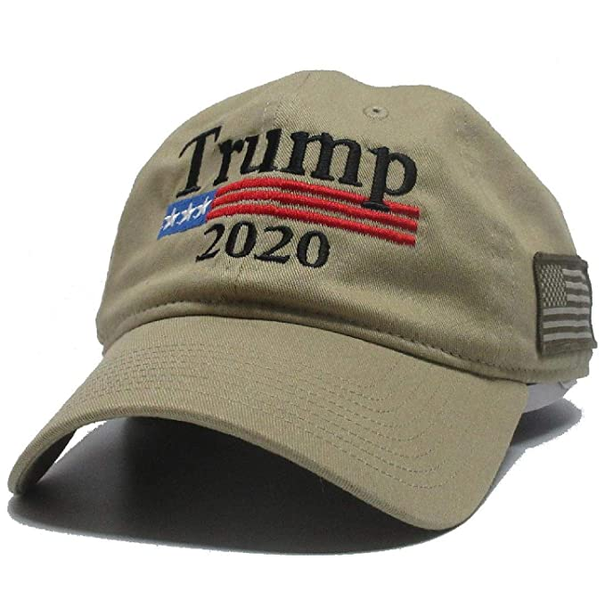 31e5e6ebf Military imagine Trump Khaki Cap US Flag Side Keep America Great ...