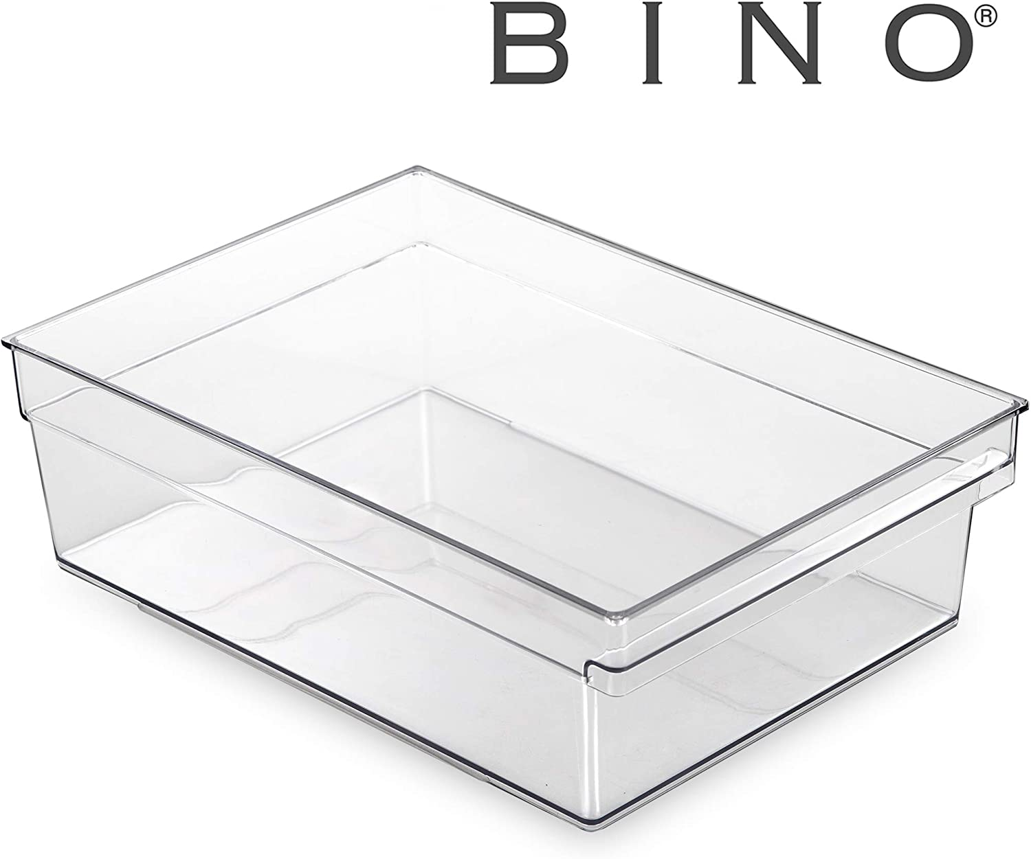 BINO Clear Plastic Storage Bin with Built-In Pull Out Handle - (Standard, X-Large) - Storage Bins for Home, Kitchen, and Bath - Refrigerator, Freezer, Cabinet, Closet, Pantry Organization and Storage