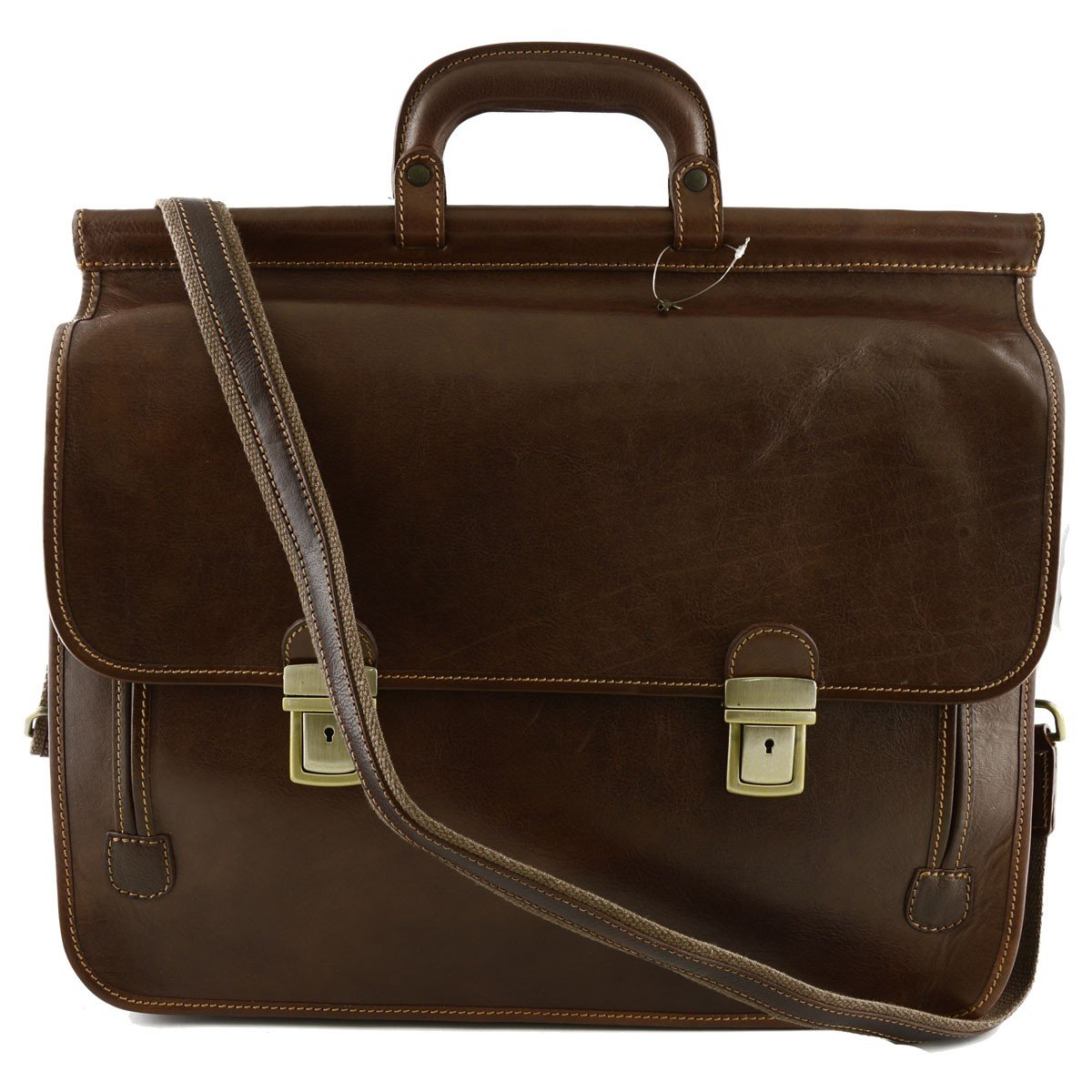 Made In Italy Genuine Leather Business Bag Color Brown - Business Bag   B01MYFFYVY