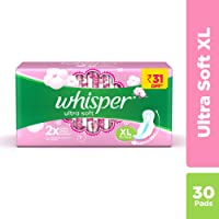 Whisper Ultra Soft Sanitary Pads - 30 Pieces (XL)