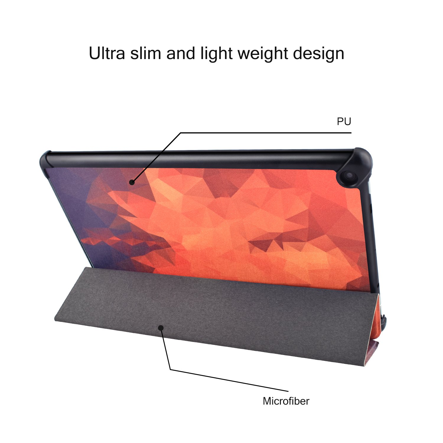 Dopup Fire 10 Case Ultra Lightweight Folding Stand Cover All New Slim-Fit PU Leather with Auto Wake/Sleep Fire 10 Tablet Case(Geometry Maple)