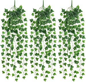 JUSTOYOU Artificial Hanging Plants Ivy Vine Fake Leaves Greeny Chain Wall Home Room Garden Wedding Garland Outside Decoration 3PCS (Sweetpotato)
