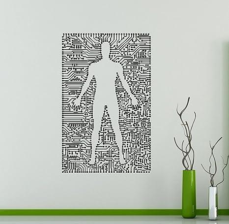 Amazon Com Cyborg Droid Wall Vinyl Cyber Decal Robot Wall Sticker