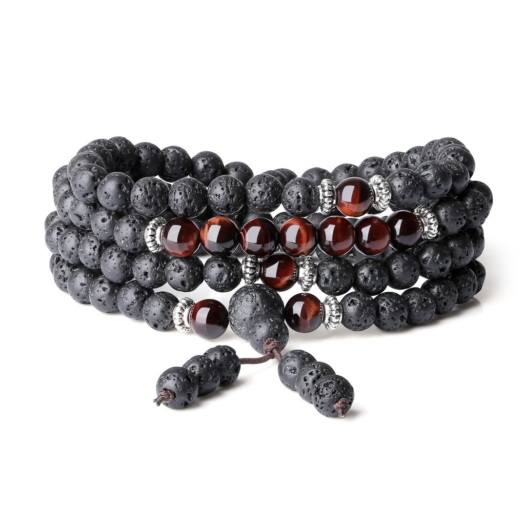 COAI 6mm Multilayer 108 Mala Beads Lava Stones Wrap Bracelet Necklace N444-2
