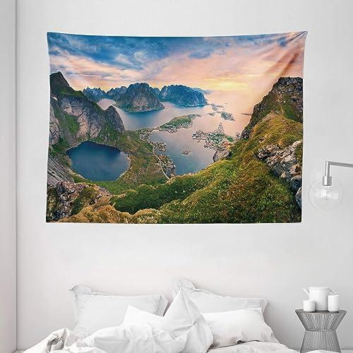 Ambesonne Landscape Tapestry, Reinebringen at Lofoten Islands in Norway Summer Sunrise Rocky Coastline, Wide Wall Hanging for Bedroom Living Room Dorm, 80 X 60 , Coral Green