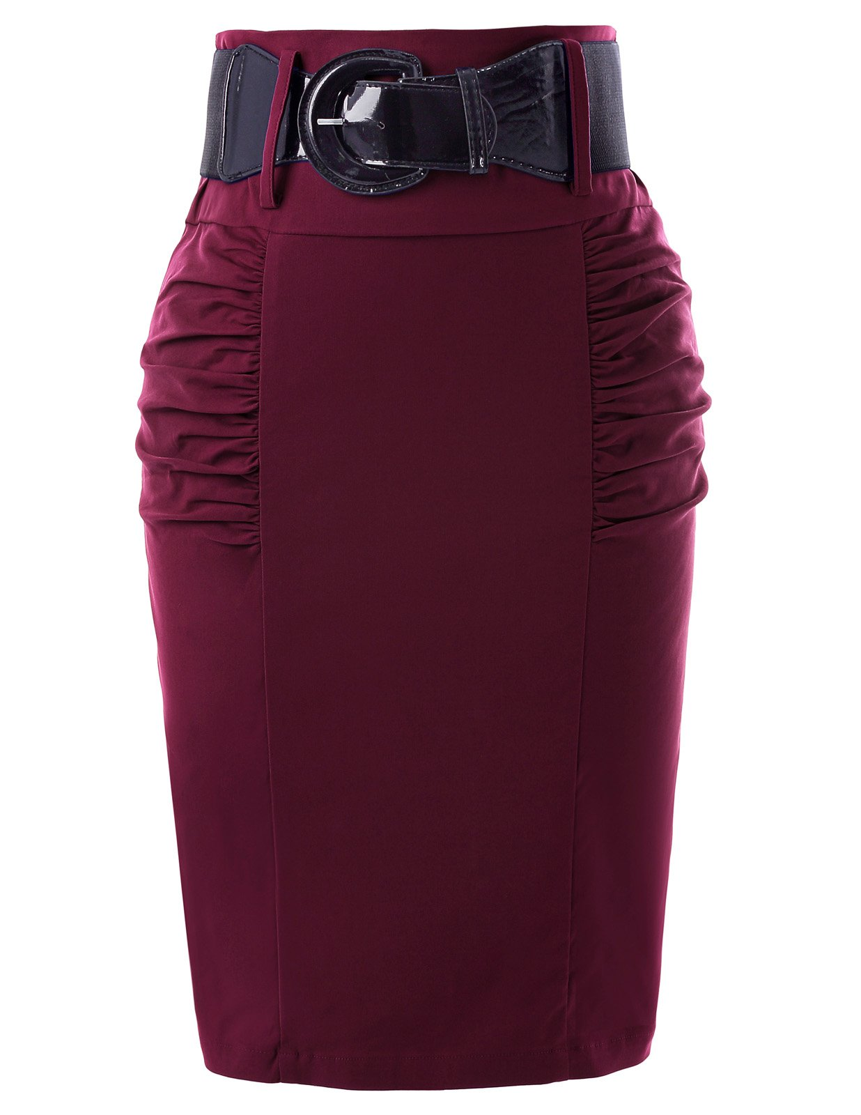 Belle Poque High Stretchy Vintage Skirts for Women Wine Red Size S KK271-7