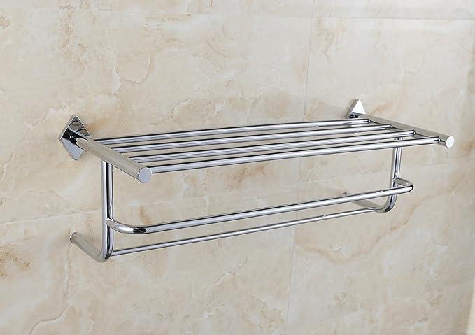 Sursy Todas de cobre cromado doble baño toallero, accesorios de baño, toalla Rack, rack: Amazon.es: Hogar
