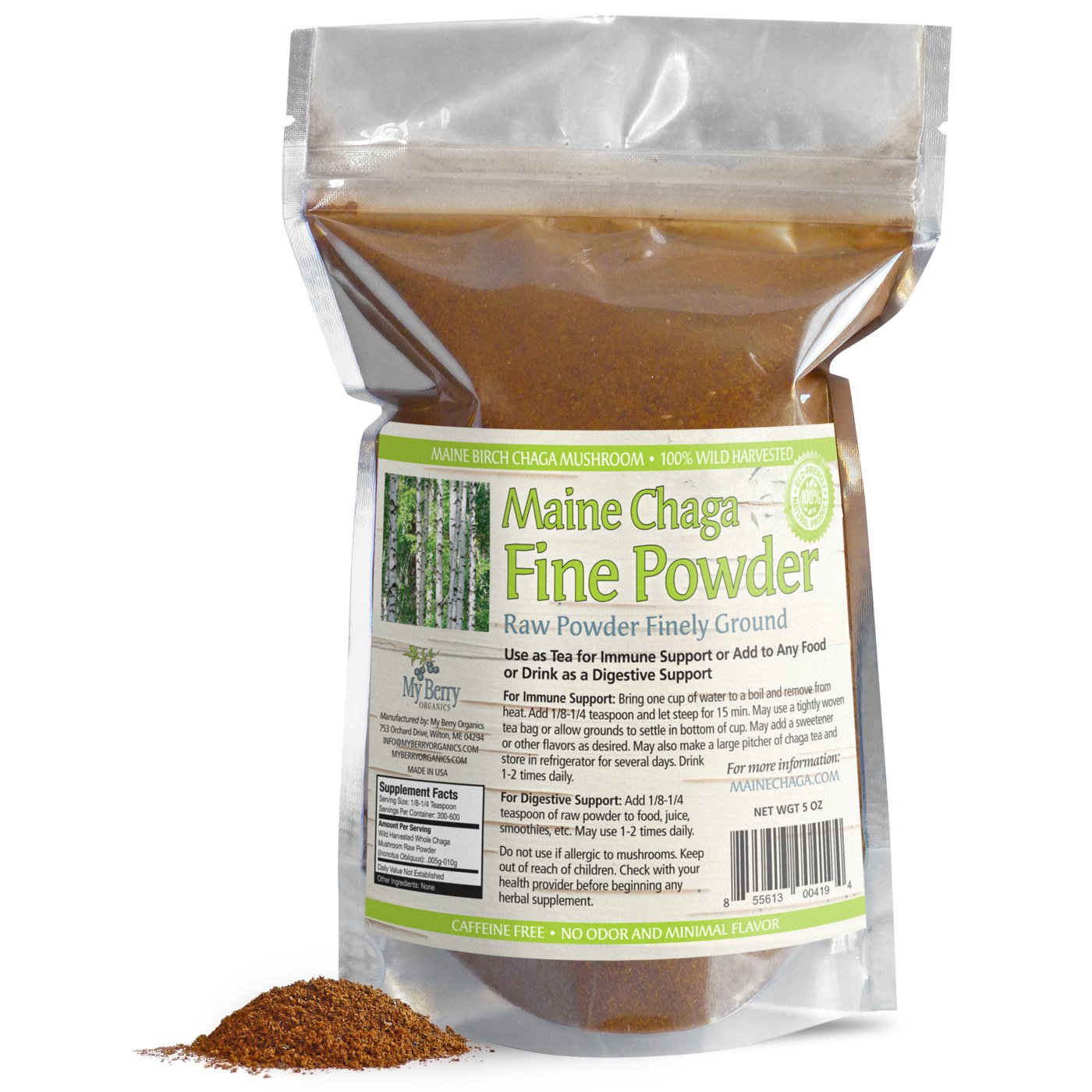 Maine USA Organic & Wild Harvested Raw Chaga Mushroom Fine Powder, 5oz, 300+Servings