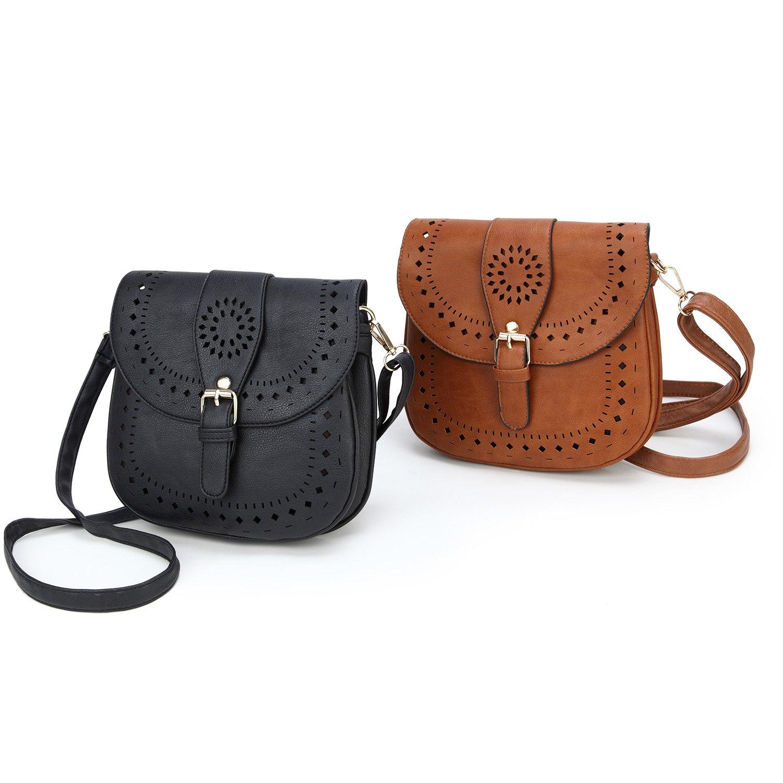 Forestfish Ladie's PU Leather Vintage Hollow Bag Crossbdy Bag Shoulder Bag (Black) by Forestfish (Image #7)