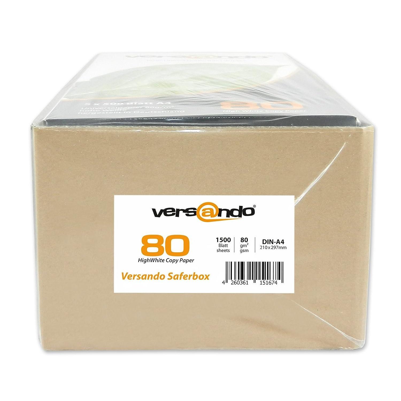 producci/ón sostenible 2500 folios de alta calidad para impresi/ón DIN A4 papel para impresi/ón fax color blanco 80 papel para fotocopiar impresoras l/áser o de tinta papel universal libre de cloro ECF Versando