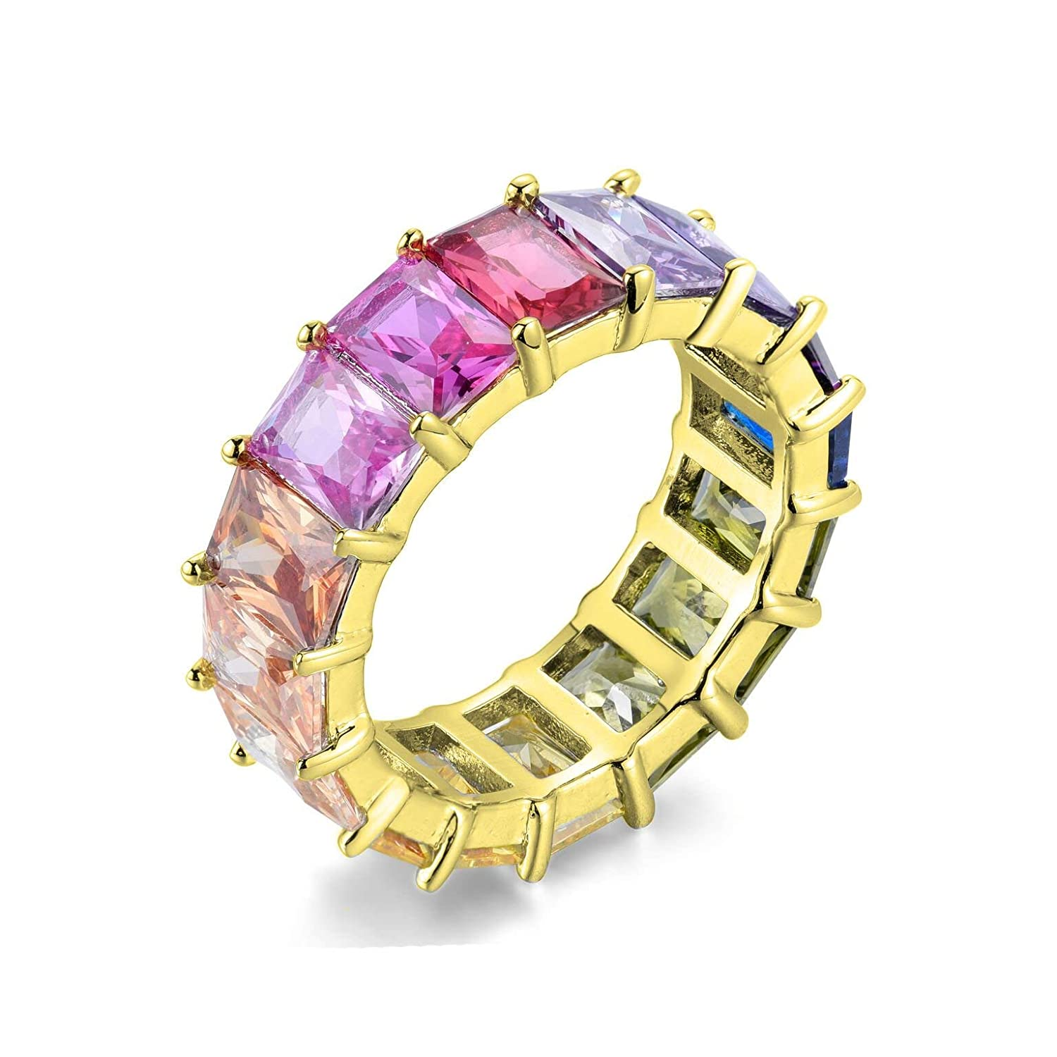Colorful Eternity Ring,Multi Colored Band Ring,Multi Colored Sterling Silver Ring,Gift for her,Gift for mom SEVEN50 Colorful Sterling Silver Emerald Eternity Band