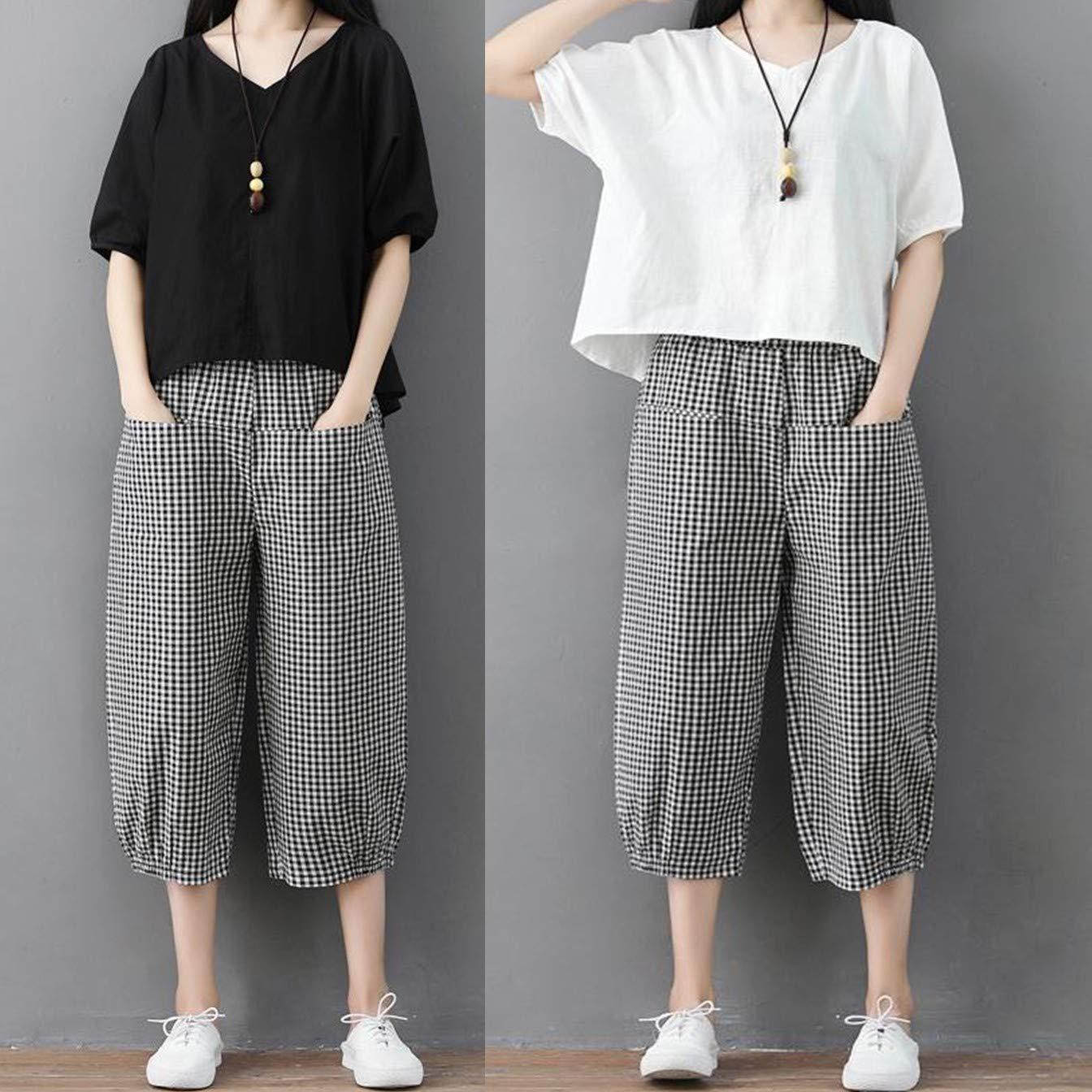 Linen blouse with basic baggy pants linen