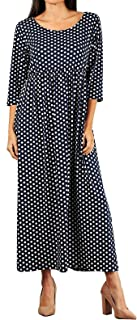 product image for Funfash Plus Size Women Navy White Polka Dot Long Sleeves Maxi Dress Made in USA